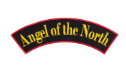 ANGEL OF THE NORTH Black w/ Yellow and Red Top Rocker Iron On Patch for Motorcycle Rider or Bikers Veteran Vest