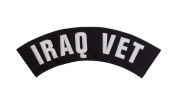 IRAQ VET Black w/ White Top Rocker Iron On Patch for Motorcycle Rider or Bikers Veteran Vest