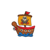 Pirate Ship DIY Embroidered Sew Iron on Patch