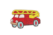 Red Fire Truck DIY Embroidered Sew Iron on Patch