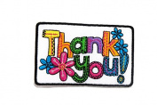 Thank You Colourful Flower DIY Embroidered Sew Iron on Patch