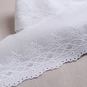 1Yds Embroidery scalloped cotton eyelet lace White 13cm YH855