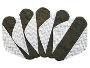 5 Pieces Charcoal Bamboo Mama Cloth/ Menstrual Pads/ Reusable Sanitary Pads (Heavy