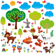 Woodland Friends Nursery/Boys Room Decorative Peel & Stick Wall Art Sticker Decals