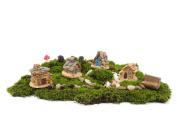 Ginsco 11pcs Fairy Garden Ancient World Diy Kit with Stone House Hedgehog Mushroom Ginsco 8pcs Miniature Fairy Garden Dollhouse Villa Style DIY kit Christmas Gifts