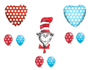 9 pc. Dr. Seuss The Cat In The Hat Happy Birthday Balloons Decoration Supplies Party Baby Shower
