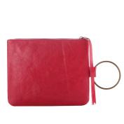 Dreambox Fashion Simpleness PU Leather Clutch Purse with Bronze Circle Handle