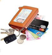 Edmen Zipper Key Wallet Leather Credit Card Case Coins Purse with ID Window
