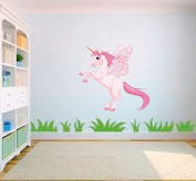 Pink Unicorn Pony Horse Cartoon Nursery Childs Bedroom Removable Vinyl Wall Art Sticker LSNur12