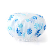 Lvge Womens Double Layers Elastic Reusable Waterproof Shower Cap Blue Plumflowers by Lvge