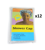 Elysee Star 12 Pieces (144 Pc) Disposable Shower Caps Colour Transparent Clear (#2085) - With Elastic Edge For Perm, Relaxers & Hot Oil Treatments - One Size Fits All