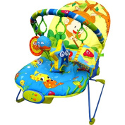 Just4baby Musical Melodies Soothing Vibration Baby Bouncer/Rocker Recling Chair with 4 hanging toys Monkey Fishing Bouncer