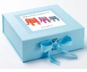 Boys Keepsake Box, Blue Keepsake Box, Elephant Keepsake Box, Christening Keepsake Box, 1st Birthday keepsake box.