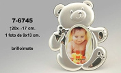 DonRegaloWeb - Photo Frame Children's Metal Teddy Bear In Gloss and Matte Finish 9 x 13 cm