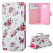 A3 Case, Samsung Galaxy A3 Case Cover (2016) - Moon mood Colourful Painting PU Leather Notebook Design Flip Wallet Stand Cover Folio Inlaid Inner Soft TPU Case Magnetic Closure Card Slot Cute Fanny Protective Cover Skin Butterfly