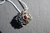 Pregnancy Gift - 925 Sterling Silver Mexican Bola with Garnet Extra Long Necklace to reach Bump