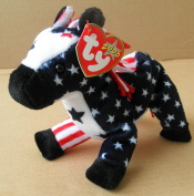 TY Beanie Babies Lefty 2000 the Donkey Stuffed Animal Plush Toy - 18cm long - American Flag Design by Smartbuy