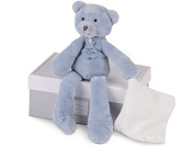Histoire d 'Ours - Soft Toy - White and Blue Soft Toys teddy bear - Doudou Bear Puppet with Handkerchief Collection Baby