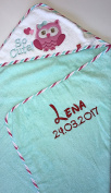 Hooded Towel with Embroidered Name and Date of Birth/76x76 cm Very Soft/1 A Quality 100% Cotton