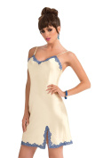 Beautiful Cream Luxury Satin Contrast Blue Lace Trimmed Chemise Nightdress