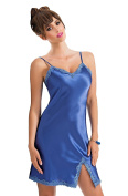 Beautiful Blue Luxury Satin Contrast Lace Trimmed Chemise Nightdress