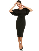 ACEVOG Zeagoo Sexy Slim V-Back Dress Batwing 3/4 Sleeve High Waist Solid Party Pencil Dress