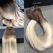 Full Shine 60cm 7 Pcs 120 Gramme Colour 6B Fading to 613 Blonde Dip Dyed Extensions of Clip in Real Human Hair Extensions