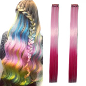 Miya® 1 Piece Clip In Hair Extensions Hair Wigs Synthetic Hair with Attractive Gradient Colour - Makes A Lovely Feature for Parties, Fancy Dress, Carnival,, Colour Pink Light Pink