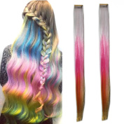 Miya® 1 Piece Clip In Hair Piece Hair Extension and Attractive Gradient Wig Hair Piece Extension Colour, Very Nice Accessoire for your party, fancy dress, Carnival, Safe, Pink/White