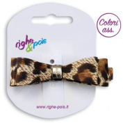 221 - 509 Spout for Hair cm 6 Leopard Print Double Bow Fabric with Buckle Clips - for hair Beige-Marrone
