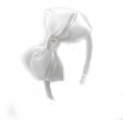 PrettyBoutique 10cm Girls Sheer Satin Ribbon Bow Alice Headband