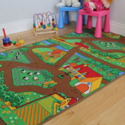 Fun Kid's Country Farm Life Mat Animal and Tractor Rug 95cm x 133cm