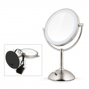 DISINO Oval Double-Sided Lighted Mirror Cosmetics Mirror with LED Light & 3X Magnification Round Swivel Table Top Illuminated Makeup Mirror with Soft LED Light for Bathroom,Vanity,Cosmetics,Ajustable Brightness