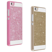 2x Huawei P8 Lite Back Cover, Moon mood PC Hard Case Bling Case Shell Bumper Phone Skin Protective Case for Huawei P8 Lite (13cm ) - Golden + Pink