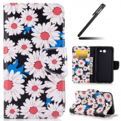Galaxy J3 2017 Case, Galaxy J3 2017 Cover, Ukayfe Flower Animal Cartoon Pattern PU Leather Wallet Case Book Style Flip Folio Protective Cover Coin Card Pocket Wallet Money Pouch for Samsung Galaxy J3 2017, Daisy