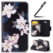 Galaxy J3 2017 Case, Galaxy J3 2017 Cover, Ukayfe Flower Animal Cartoon Pattern Black PU Leather Wallet Case Book Style Flip Folio Protective Cover Coin Card Pocket Wallet Money Pouch for Samsung Galaxy J3 2017, Lily
