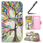 Galaxy A5 2017 Case, Ukayfe Black Wallet Case for Samsung Galaxy A5 2017, Elegant Beautiful Colourful Tree Design PU Leather Case, Flip Folio Book Case, Money Pouch Wallet Cover with Stand Function, Card Slots & ID Holder and Magnetic Closure for Samsu ..
