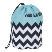 Travel Round DrawString Cosmetic Toiletry Bag My face Zig Zag [034]