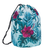 Travel Round DrawString Cosmetic Toiletry Bag Jungle Flowers Mint Ombre [034]
