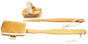 Vega Natural Bristle Bath Brush with long handle & detachable head. For Back Scrubber - Excellent For Exfoliating Skin - Use Wet Or Dry - Suitable For Men And Women. NBA-1/3