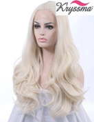 K'ryssma Realistic Wigs for Ladies White #60 Wavy Lace Front Wig Synthetic Hair Heat Resistant Fibre Half Hand Tied 60cm