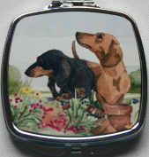 DACHSHUND HOUND DOG short haired- compact mirror design Sandra Coen