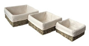 Set of 3 Cotton Lined Square Seagrass Tray