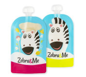 Zebra & Me Z/C Reusable Food Pouch - Zebra Cook/ Zebra (2 pack 150ml/5 oz) - Ideal for healthy food on-the-go, double ziplock, wide opening for easy filling and cleaning