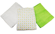 3 Pack of Muslinz Premium Muslin Squares 100% Cotton Supersoft Very High Quality - GREEN/WHITE & YELLOW SPOTS