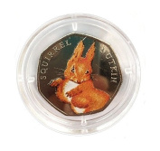 Handmade Decal Varnish Seal Beatrix Potter Squirrel Nutkin Coloured 50p Fifty Pence Coin with Capsule Holder *NOT SILVER PROOF*
