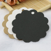 100Pcs Kraft Paper Gift Tags Wedding Party Favour Label Wine Decor Price Gift Card Price Label Round Flower Scalloped Black
