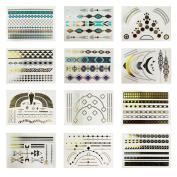12 Styles Sheet Fashion Unisex Gold Metallic Multicolor Pattern Removable Waterproof Temporary Tattoo Body Art Sticker Stickers Bracelet Necklaces Earrings DIY