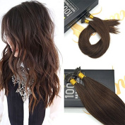 Sunny Medium Brown Colour #4 Pre bonded I Tip Fusion Hair Extensions Remy Silky Straight Human Hair 60cm 1g/Strand 50g/pack