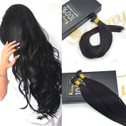 Sunny Natural Black #1B Silky Straight Remy I Tip Stick Human Hair Extensions with Salon Style 60cm 1g/strand 50 Strands